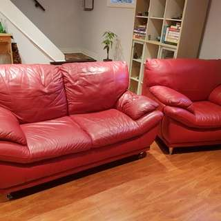 Leather love seat and single