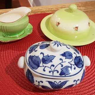 Creamer, sugar bowl, butter dish