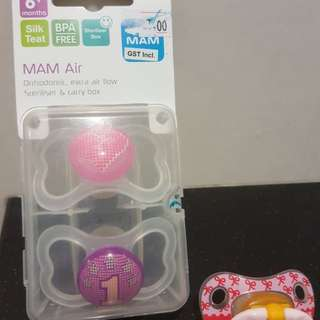 MAM Air Orthodontic Pacifier, Girl, 6+ Months, Twin Pack #dec30