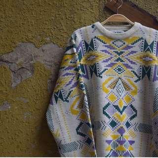 -貳拾貳-Vintage古著幾何毛衣。