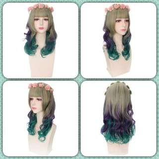 HARAJUKU SWEET LONG WAVY MIXED COLORS WIGS WITH WREATH SYNTHETIC HAIR 25.00 x 15.00 x 5.00 cm (Pre-order)