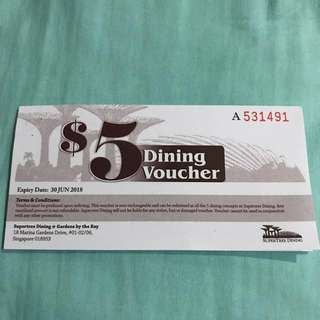 Supertree Dinning @ Gardens by the Bay, 8pcs of $5 each, all worth $40
