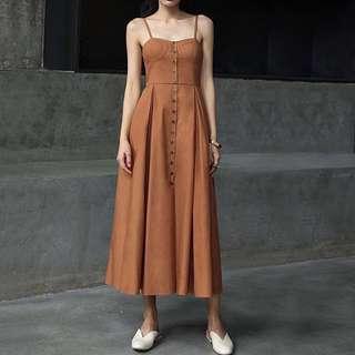 IOZ。法式復古無袖高腰a字連身長裙洋裝