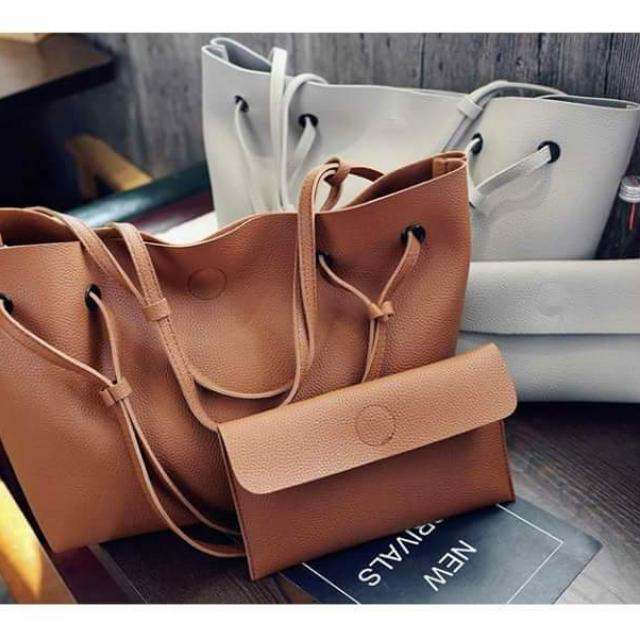 2 in 1 Large Casual Leather Bucket Shoulder Bag