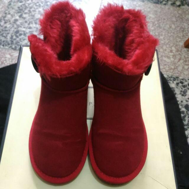 【降價了~】35號Air Space木扣紅色短統雪靴(含店到店運費)