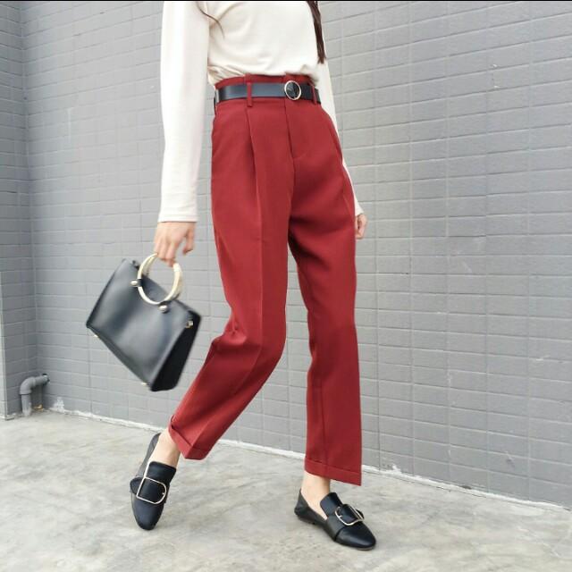 酒紅色西裝長褲#手滑買太多