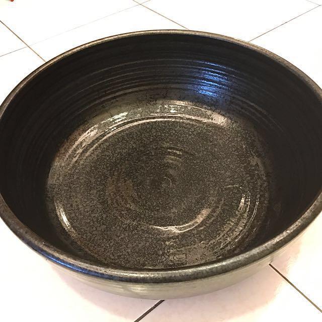 再降價!超實用~黑釉細陶魚缸/荷花缸