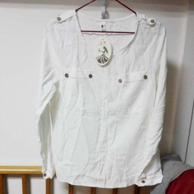 """""""全新""""白色棉紗質感襯衫上衣"""