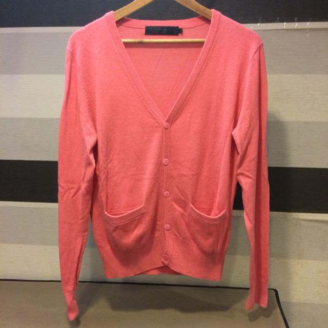 桃粉針織外套