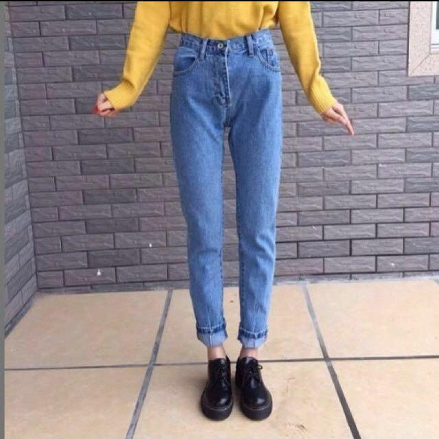 哈倫褲 淺藍牛仔褲