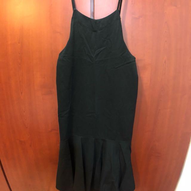 近全新!黑色 連身吊帶 魚尾裙