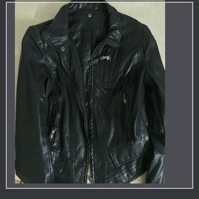 黑色 騎士 皮衣 夾克
