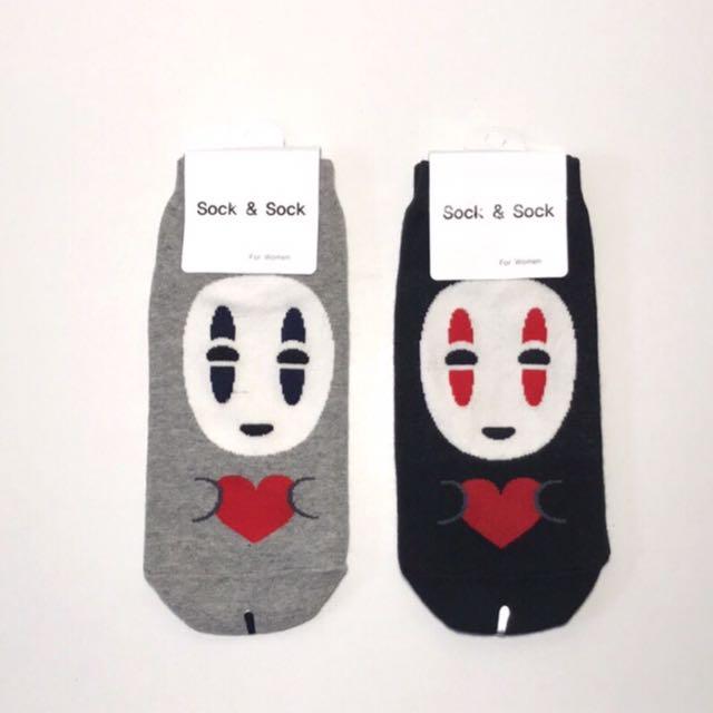 韓國帶回~宮崎駿 無臉男造型直板襪 短襪 長襪 隱形襪 船型襪 學生襪