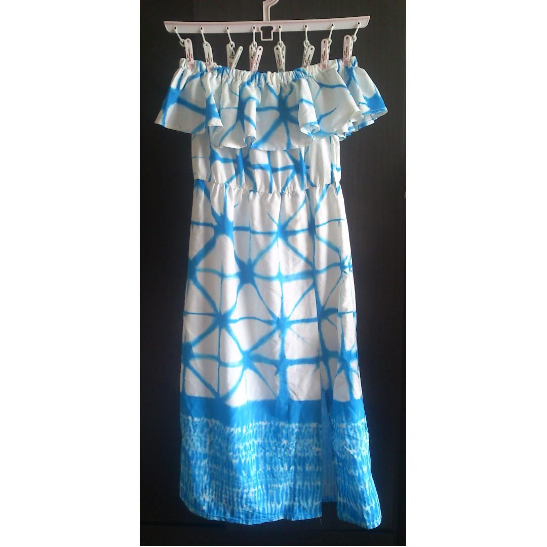 澳洲 ASHLEY BEGINNING BOTIQUE 超美希臘藍色渲染平口荷葉邊洋裝