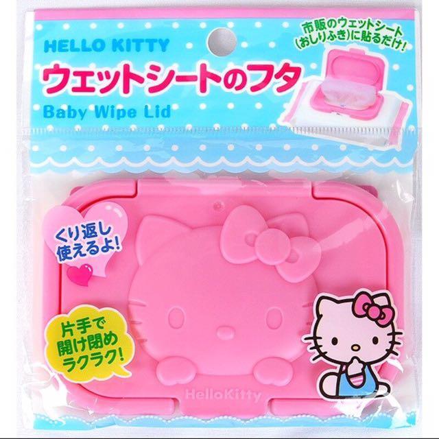 日本帶回~三麗鷗 Hellokitty 凱蒂貓 濕紙巾蓋 大包裝用濕紙巾蓋 隨身攜帶用濕紙巾蓋 兩種尺寸(可重覆使用)