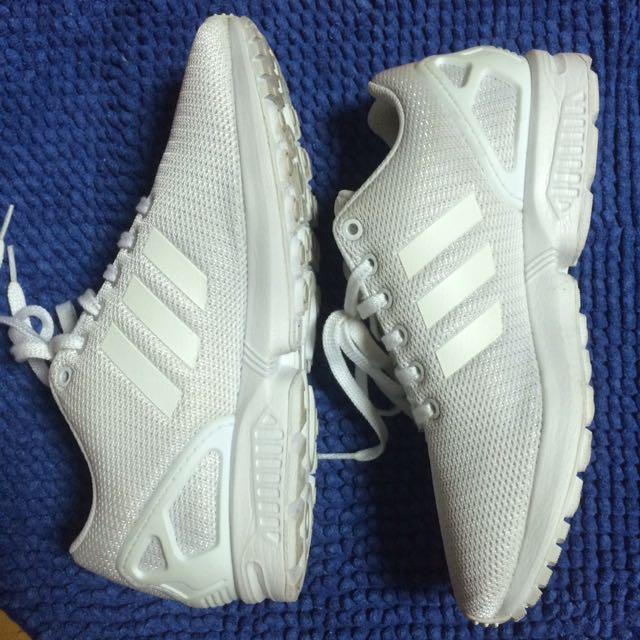 Adidas-全白Torsion運動休閒鞋-UK7