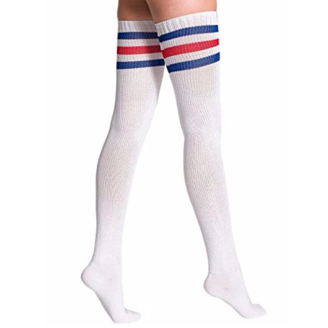 American apparel THIGH HIGH Red Stripe Socks