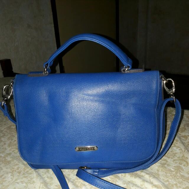 ANNE KLEIN Blue Leather Shoulder Handbag