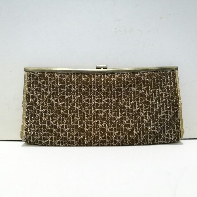 4a1fa4668eeed Authentic 1960s Christian Dior Clutch Bag with Gold Metallic Logo ...