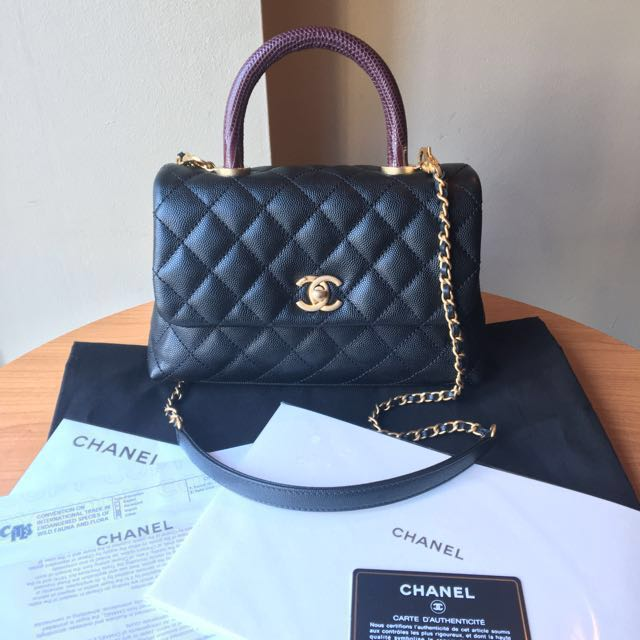 07ddb8607f60 Authentic Brand New Chanel Small / Mini Coco Handle Bag with Lizard ...