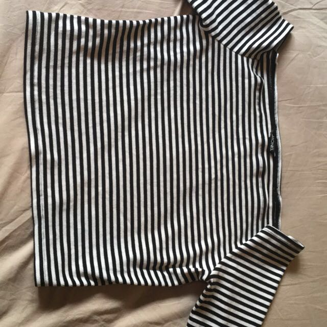 Band New Monki striped strapless crop top
