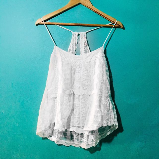 Bershka White Boho Top