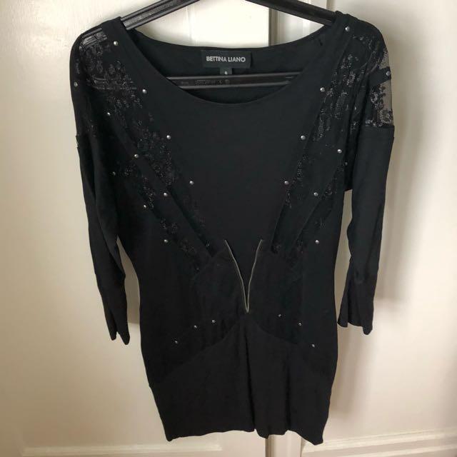 Bettina Liano Black Long Sleeve Dress Size 6