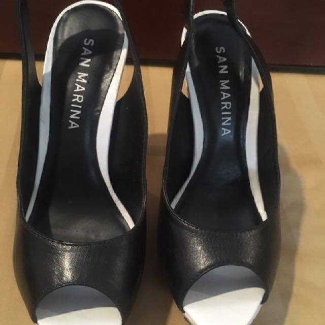 Black and white heels- san marino brand