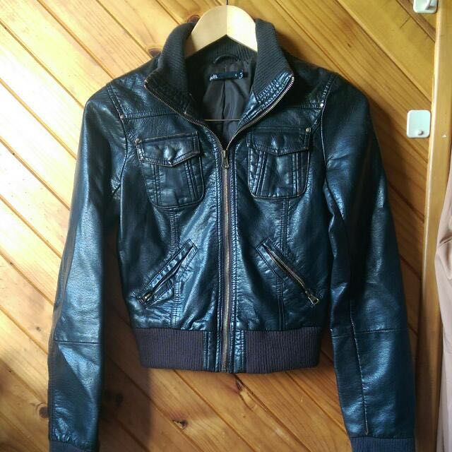 Black Leather Jacket (Dotti)