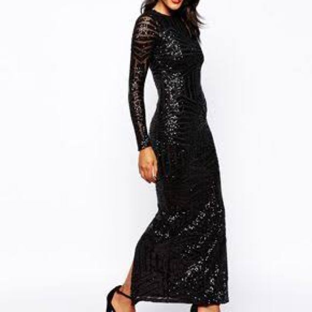 Black sequin ball gown, Women\'s Fashion, Clothes on Carousell
