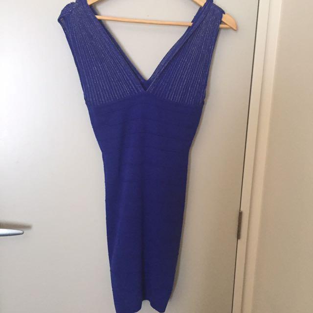 Blue skin tight evening dress