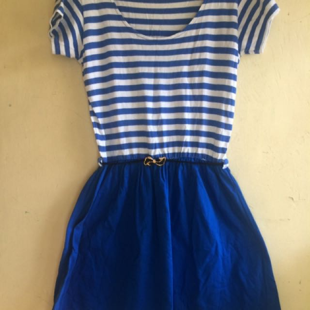 Blue Wrap Dress Stripes