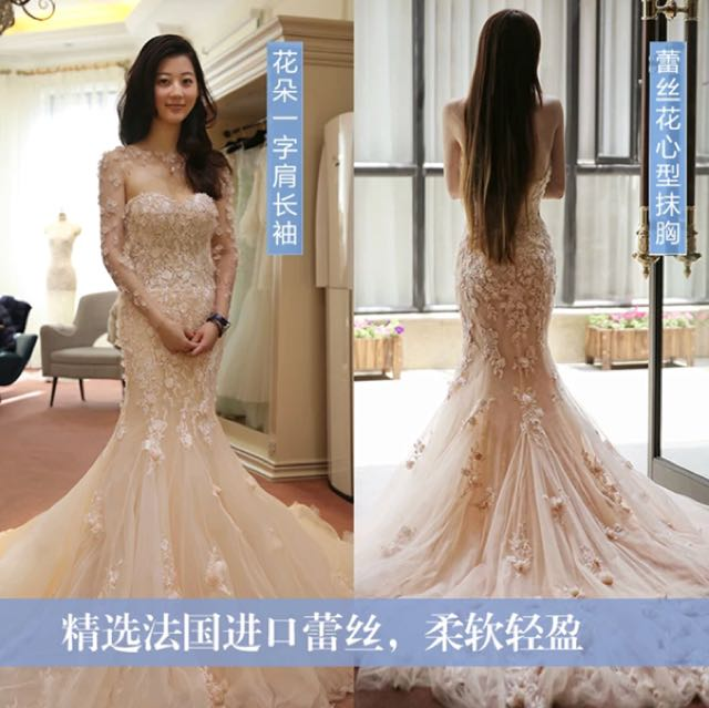 Brand New Gorgeous Champagne Colored Mermaid Long Train Korean Style