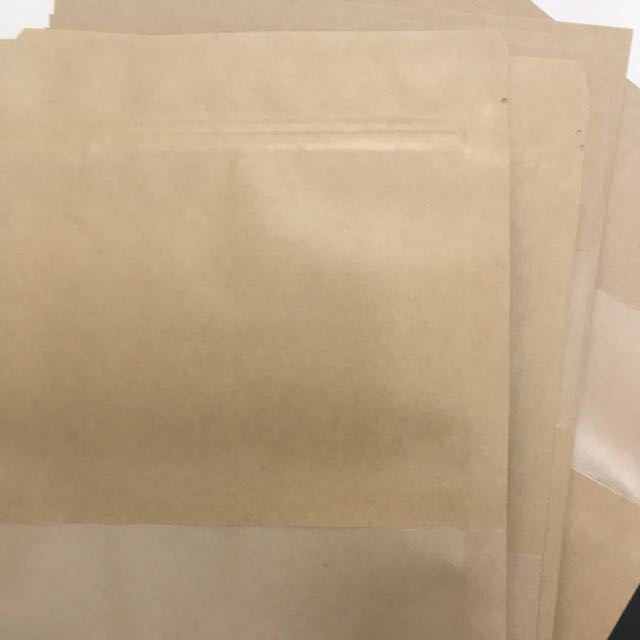 Brown bag with clear panel and zip lock (17)