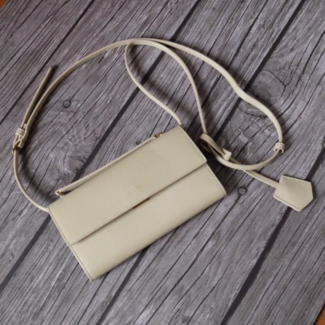 Charles & Keith Creme Taupe Sling Wallet