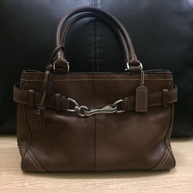 COACH Brown Leather Hamptons Carryall Satchel Tote 8A70