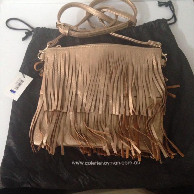 Collete Gold Tassle Fringe Bag
