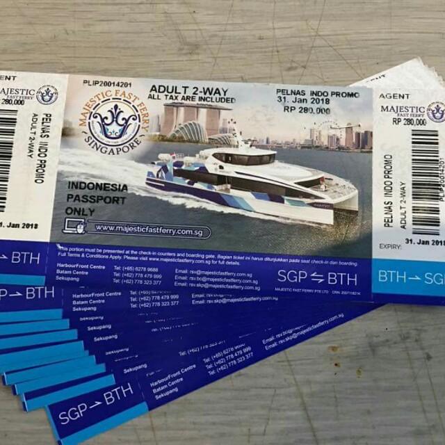 Di Jual Ticket Ferry Majestic Pp Batam Sg All Tax Are