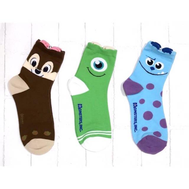 韓國帶回~Disney 迪士尼 立體耳朵造型 怪獸電力公司 奇奇 大眼仔 毛怪 中筒襪 短襪 學生襪