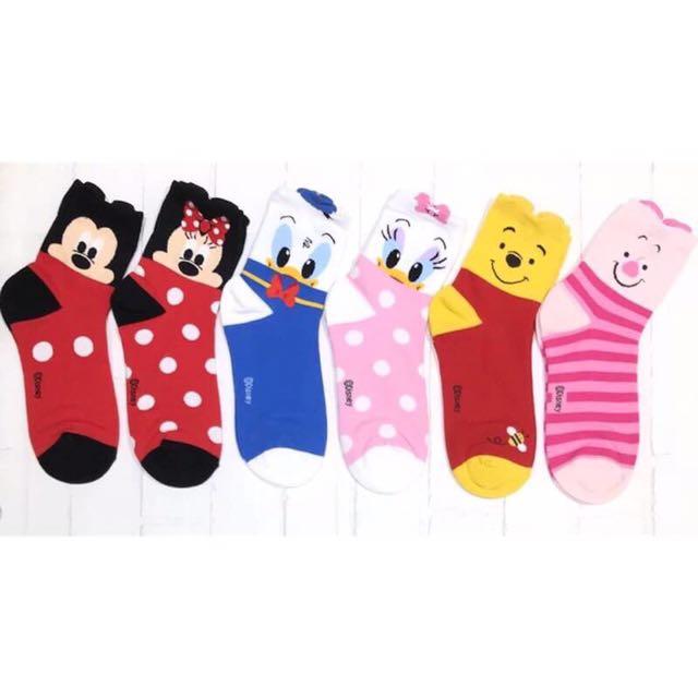 韓國帶回~Disney 迪士尼 立體耳朵造型 米奇 米妮 唐老鴨 戴西 小熊維尼 小豬 中筒襪 短襪 學生襪