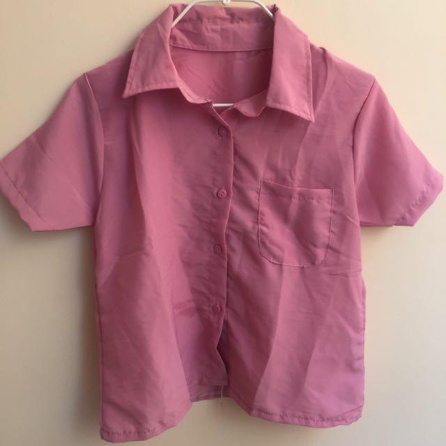 Dust pink crop shirt
