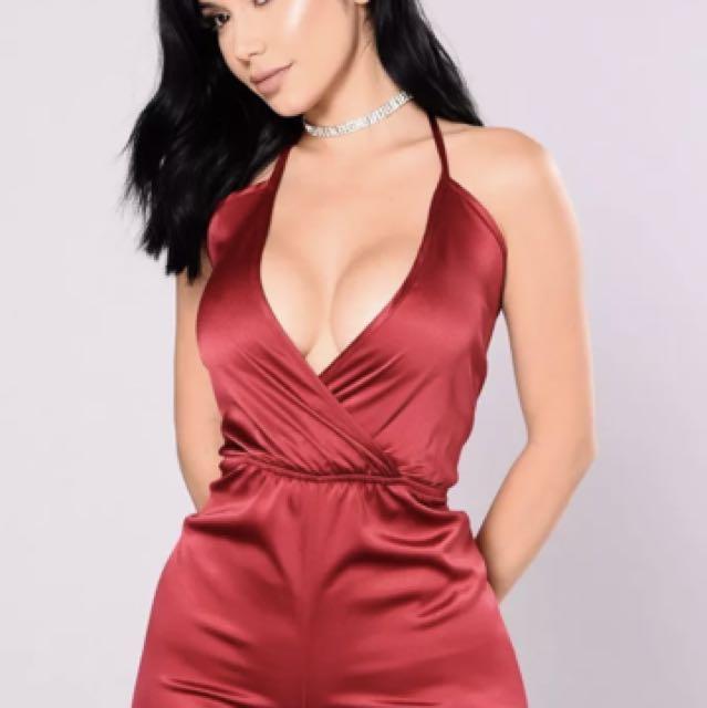 Fashion Nova Red Satin Playsuit Size Small