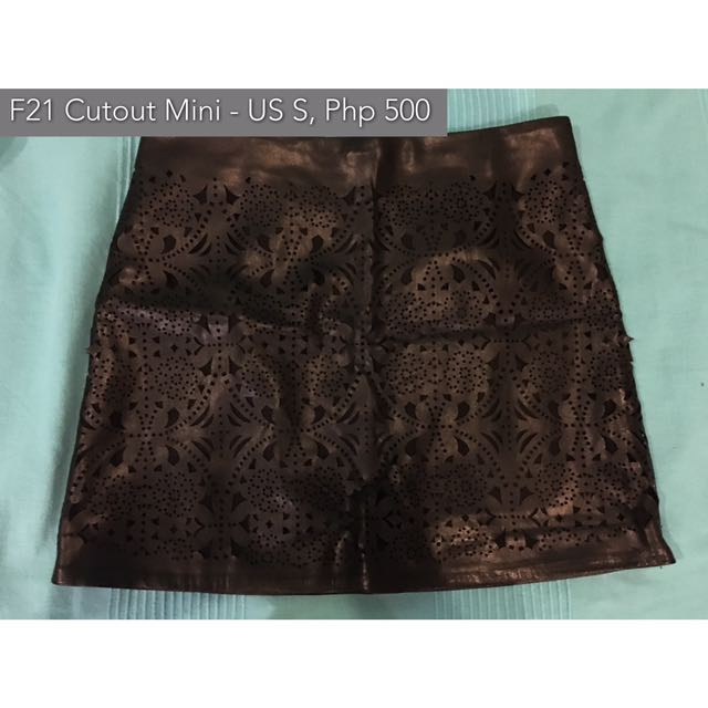 Forever 21 Black Cutout Leather Mini Skirt