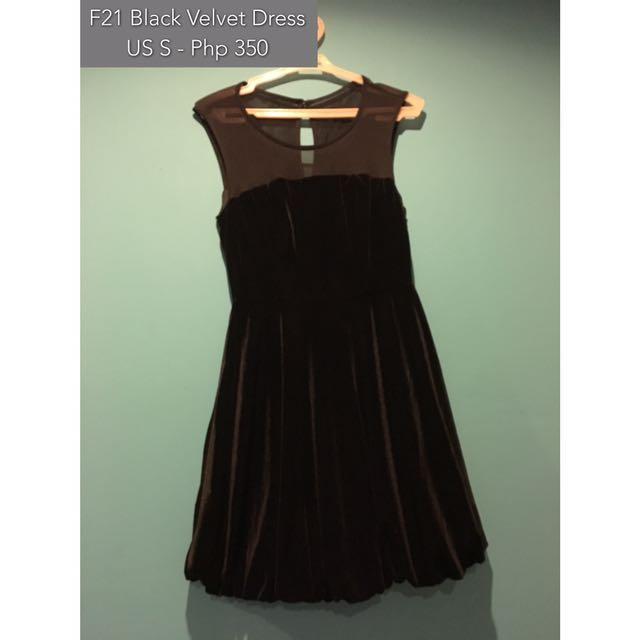 Forever 21 Black Velvet Dress With Mesh Neckline