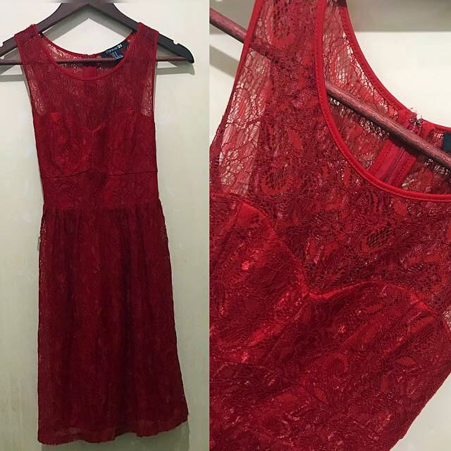 Forever 21 Lacey Red Dress