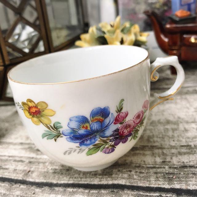 德國名瓷FÜRSTENBERG費斯騰堡五彩花卉描金咖啡杯