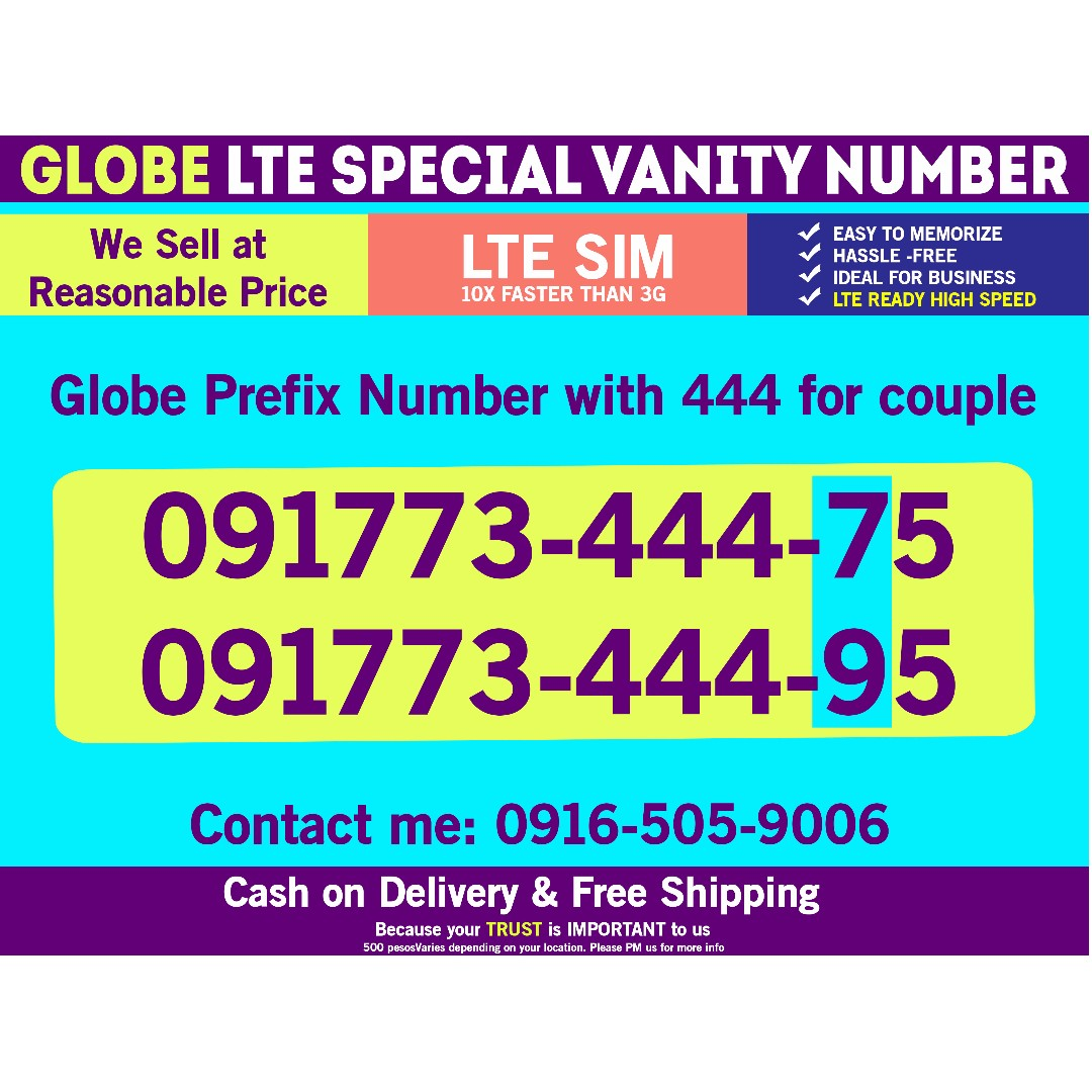 Globe Sim LTE Prefix Number for Couple 888 2pcs