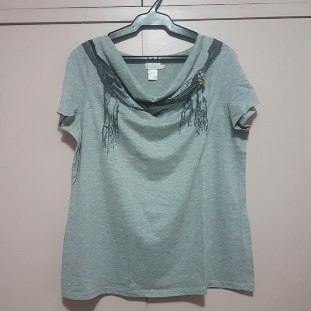 Gray drape-neckline top