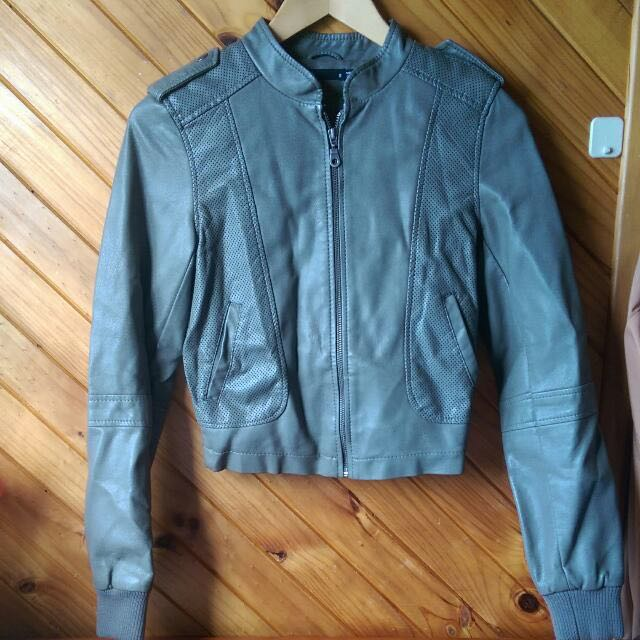 Grey Leather Jacket (Dotti)
