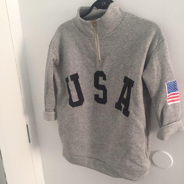Grey USA Quarter Zip Sweater - S